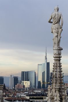Old and new Milan: the beauty of italian contrast! (View from the top of Duomo Milan)