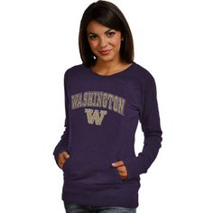 Women's New Agenda Purple Washington Huskies Crew Neck Fleece Pullover