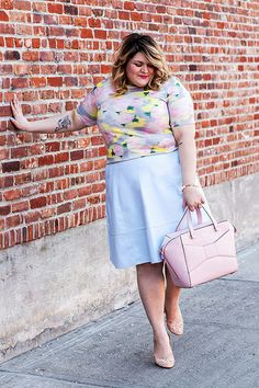 nicolette mason | perfect spring look: love the floral top + white skirt + pink accessories