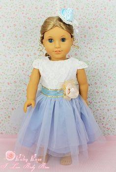 "** RUBY ROSE ** Couture Show - Aqua Blue Lace Dress ~ Fits 18"" American Girl Dolls by *** The RUBY ROSE COLLECTION *** made by usatoystore, http://www.amazon.com/gp/product/B008OKYEXM/ref=cm_sw_r_pi_alp_e99uqb1Z3N83A"