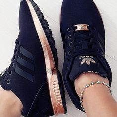 adidas ZX Flux Trainers – Black and Copper (Gold adidas-black-and-gold-copper-shoes Adidas Zx Flux Black, Black Adidas Shoes, Adidas Shoes Women, Adidas Sneakers, Adidas Flux, Rose Gold Addidas Shoes, Rose Gold Trainers, Shoes Addidas, Girls Shoes