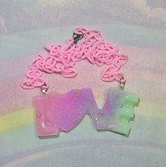 ♥ fairy kei, pop kei, magical girl, pastel goth, holographic necklace, holographic love necklace, pastel love necklace ♥ https://www.etsy.com/shop/starlightsparkles