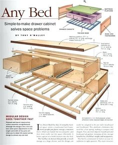 Under Bed Storage Plans - Furniture Plans and Projects - Woodwork, Woodworking, Woodworking Plans, Woodworking Projects Platform Bed With Storage, Bed Frame With Storage, Diy Bed Frame, Under Bed Storage, Platform Bed Plans, Storage Bed Queen, Woodworking Table Plans, Woodworking Projects That Sell, Popular Woodworking