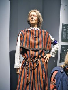 La Tène women's dress and jewelry reconstructed at the Musée d'Histoire de Berne in Bern, Switzerland.