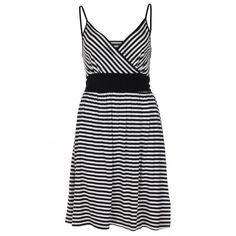 Women's Odyssey Black Monochrome Striped Stretchy Dress - Blue Inc
