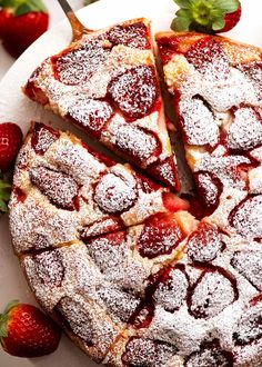 This Strawberry Cake is just about the quickest and easiest cake you will ever make. Loaded with 500g / 1 lb of strawberries IN and ON the cake, it's a great way to use strawberries when they're in season! Yogurt makes the crumb moist, it's not too sweet and you'll love the hint of lemon.No stand mix