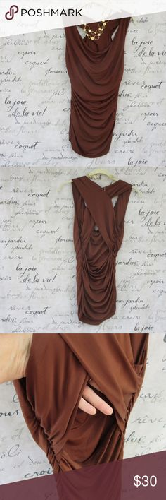 """Laundry by Shelli Segal Chocolate Ruched Top Sexy chocolate brown top is ruched for a flattering fit. Crosses in the back and leaves the back exposed. Stretches. 30"""" long. Stretched it is 17"""" across underarms. EUC. Laundry by Shelli Segal Tops"""