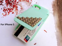 iPhone 5 case,MIRROR Credit Card holder Mint Studded iphone 5 Case,Stud KICKSTAND Stand Flip Silicone Phone Case,iphone 5 case hard Cover on Etsy, £11.54