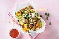 Kijk wat een lekker recept ik heb gevonden op Allerhande! Kapsalon kip met airfryer-aardappelschijfjes