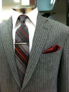 striped suit and tie.