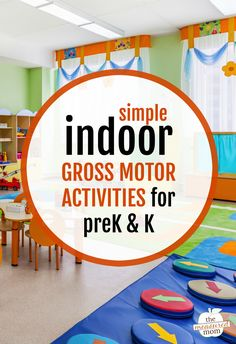 It's hard to know what to do with active kids on a rainy day! Thankfully, this post has a huge variety of indoor gross motor activities for preschool and kindergarten. No more crazies! #grossmotor #preschool #kindergarten #rainyday #largemotor