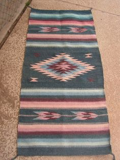 Vintage Zapotec Indian Mexican Woven Wool Rug by retrosideshow, $149.99