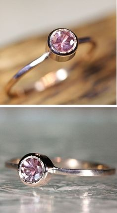 Rose Gold Pink Sapphire Stackable Ring ♥