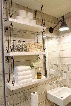 Looking for toilet storage ideas? Check out these awesome over the toilet storage ideas & designs (vintage, modern) Small Bathroom Organization, Bathroom Shelves, Bathroom Wall, Bathroom Ideas, Toilet Shelves, Bathroom Makeovers, Budget Bathroom, Bathroom Cabinets, Bathroom Designs
