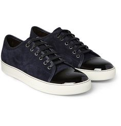 quality design 22c2c e2f92 Lanvin - Cap-Toe Suede and Patent-Leather Sneakers