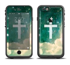 The Vector White Cross v2 over Cloudy Abstract Green Nebula Apple iPhone 6/6s Plus LifeProof Fre Case Skin Set from DesignSkinz