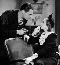 polish-actresses:  Helena Grossówna and Eugeniusz Bodo in movie Piętro wyżej, 1937.