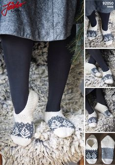 Knit cozy Christmas slippers.