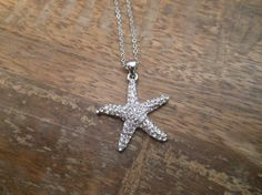 Starfish necklace with clear crystals by LiveCoastal on Etsy, $18.00