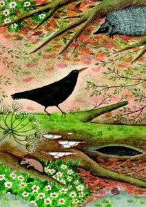 Greeting Card by Jane Ray Illustrations, Illustration Art, Childhood Images, American Crow, Different Kinds Of Art, Crows Ravens, Naive Art, Land Art, Traditional Art