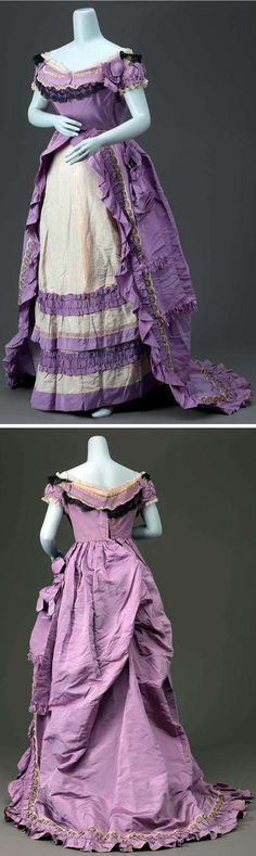Dress in 3 parts (skirt and evening bodice shown), Worth, ca. 1870. Purple silk faille skirt trimmed with cream-colored lace embroidered with black chenille yarn; skirt front made of white silk faille with supplementary warp patterning. Evening bodice trimmed with cream and black net lace attached to skirt. Museum of Fine Arts, Boston