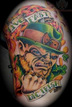 25 Clover, Shamrock and Leprechaun Tattoo Designs 26 Scary Leprechaun, Leprechaun Tattoos, Irish Leprechaun, Shamrock Tattoos, Clover Tattoos, Irish Celtic, Celtic Art, Tattoos 2014, Tattoo