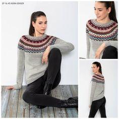 NORA-genseren er strikket i TrysilGarn PERU alpakkablend i fargene: Lys grå 602, Mørk grå 604, Hvit 601, Blå 608, Mørk rust 610 og Rød 607. Fair Isle Knitting Patterns, Sweater Knitting Patterns, Knitting Charts, Knit Patterns, Poncho Sweater, Wrap Sweater, Icelandic Sweaters, Bunt, Knitted Hats