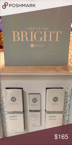 Nerium 3pc holiday gift set Nerium 3pc holiday kit: Take your skincare regimen to the next level with our limited-edition Advanced Age-Fighting Gift Set this holiday season! The three-piece set includes Nerium's core age-defying products including: Nerium's Age-Defying Night and Day Creams plus our New Age-Defying Eye Serum. This set is the perfect gift for someone special – including you! nerium  Makeup