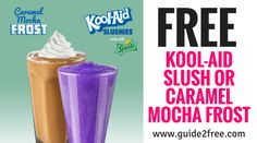 Get a FREE Kool-Aid Slush Or Caramel Mocha Frost at Krystal!  You can pick from two delicious Kool-Aid®️️ Slushies – Green Apple and Grape – or the Caramel Mocha Frost, which is a perfect combination of rich creamy flavor and caffeine. via @guide2free