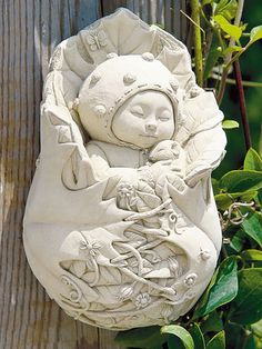 Indoor/Outdoor Cast Stone Wall Plaque: Carruth Studio: Sleeping Garden Pixie