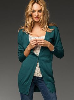 Silk & Cashmere Long Cardigan in Blue Grass. Would love this cardi in every color!