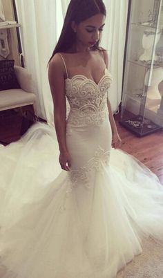 2016 Mermaid Wedding Dresses Spaghettis Straps Delicate Lace Appliques Bridal Gowns
