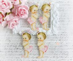 Vintage Baby Girl Die Cut Embellishments for by LittleScrapShop