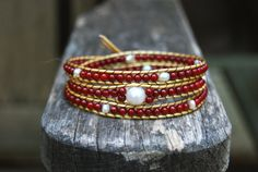 Gold Wrapped Leather Bracelet with Freshwater Pearls, Red Coral & Vintage Button - Boho Stackable Triple Wrap, White Pearl, Crimson Headband. $49.00, via Etsy.