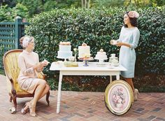 wedding cake table,wedding dessert table- see more bridesmaids tea party : http://www.itakeyou.co.uk/wedding/bridesmaids-tea-party-shoot/ | Photo : Caitlin Turner Photography