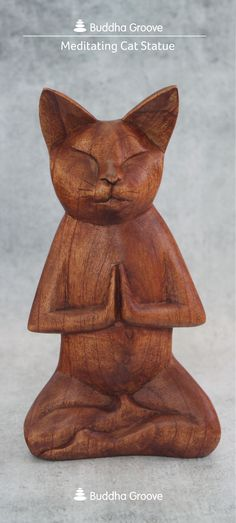 Humorous and lighthearted hand carved statue of a cat in meditation. Made in Bali, Indonesia. Crazy Cat Lady, Crazy Cats, Cat Statue, Here Kitty Kitty, Oeuvre D'art, Cool Cats, Wood Carving, Cat Art, Mindfulness Meditation