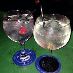 #Gintonics! The left is #brockmans and the right #londonN3 with #fevertree in some place of #Barcelona