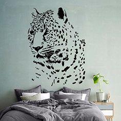 Wall Decals Leopard Vinyl Decal Animals Sticker Wild Cat Cheetah Head Home Art Decor Interior Design Mural Decals for Bedroom KT167