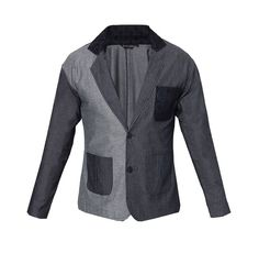 Ged Shayne Blazer by Lazuli Sarae. Denim blazer, with dark grey color combined with light grey, and black pocket with pattern, accent black pattern on the neck, two button accent, with  light grey and dark grey pocket in front. Perfect for your casual style or for a formal occasion. http://zocko.it/LEQYe