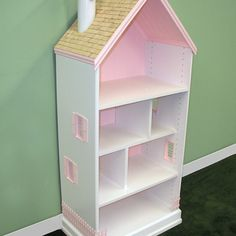 Easy way to build a book case doll house. Starts with a laminate shoe organizer. Dollhouse Bookcase, Wooden Dollhouse, Diy Dollhouse, Victorian Dollhouse, Doll Furniture, Dollhouse Furniture, Billy Regal, Doll House Plans, Muebles Shabby Chic