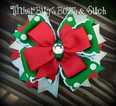 Red and Green Christmas Holiday Stacked Hairbow