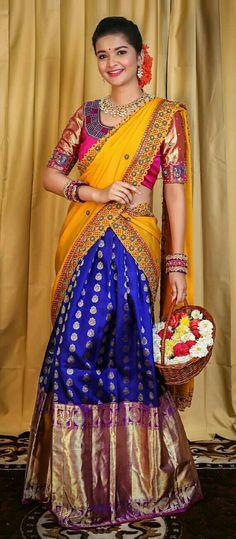 Half Saree Designs, Gold Material, Unique Colors, Indian Wear, Indian Beauty, Color Combos, Braids, Beautiful Women, Sari