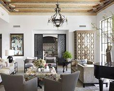Don't miss the plaster-relief, hand-painted ceiling.  (: @wabranowicz | Design: @burnhamdesign) #interiordesign #homedecor