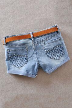Sweet Denim Shorts With Seam Detail OASAP.com