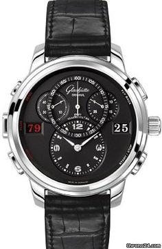 Glashütte Original PanoMaticCounter XL $20,207 #Glashuette #watch #watches #style #luxury #chronograph steel case with crocodile skin bracelet and automatic movement