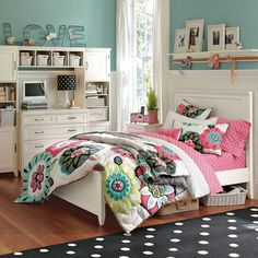 Amazing Pottery Barn Teen Bedroom Designs Inspiration, 25 kids bedroom & teens bedroom in minimalist, traditional, vintage, modern, classic styles. Pottery Barn Teens Kids Bedroom with Tosca Walls White Bed Platform Headboard Cabinet Drawers & Shelves with Pink Polka-dots Bedsheet Pillows & Floral Blankets, Beautiful Pottery Barn Girls Bedroom Design with White Vintage Bed Platform Headboard & Blue Cushion Wall Panels and Soft Blue Polkadots Bedsheet & Pillows, Cozy Pottery Barn Teen Room…