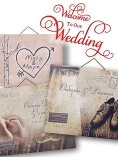 πινακίδες γάμου ντεκόρ ξύλινες. wooden decor wedding signs