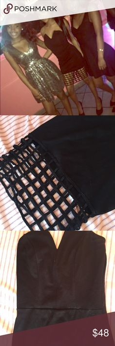 Caged little black dress Wore this once at a party got so many compliments. Adore this dress it's very comfortable and really pretty. Feel free to make offers💕 Dresses Mini