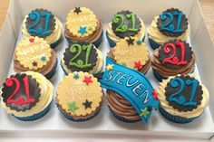 21st birthday cupcakes 21st Birthday Cupcakes, Boy Birthday, Cap Cake, Cake Toppers, Blue Green, Yellow, Party, Desserts, Food