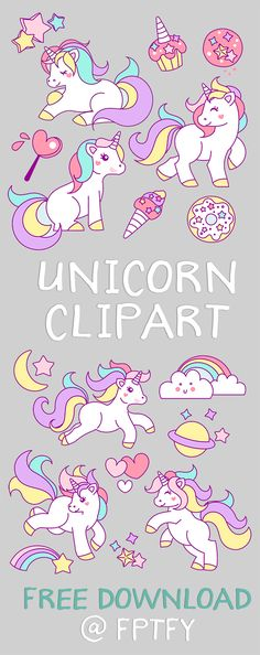 Free Hand Drawn Unicorn Clip Art